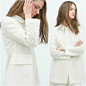 ZARA WHITE FLORAL EMBROIDERED COAT
